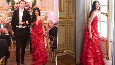 Shanaya Kapoor Stuns in a Red Lecoanet Hemant Gown as She Marks her Debut at Le Bal in Paris (View Pics)