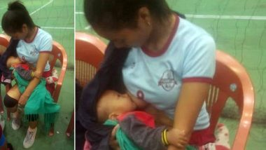 Mizoram Volleyball Player Breastfeeds Baby in the Middle of the Game! Heart-Warming Pic Goes Viral