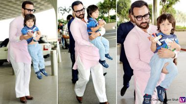 Saif Ali Khan and Taimur Spotted At The Airport But We Are Curious About What Nawab Jr is Carrying in his Little Hands (View Pics)