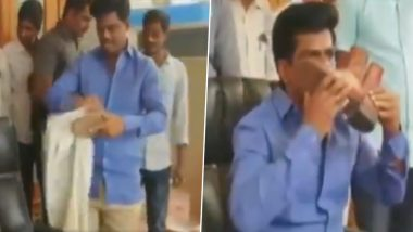 Andhra Pradesh: Gorantla Madhav, YSR Congress Leader, Kisses Police Shoe to Condemn TDP Leader Diwakar Reddy's Derogatory Remark on Cops; Watch Video