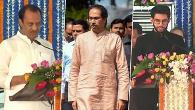 Maharashtra Government Expansion: Ajit Pawar, Aaditya Thackeray, Ashok Chavan And 33 Others Take Ministerial Oath at Vidhan Bhavan; Check Full List