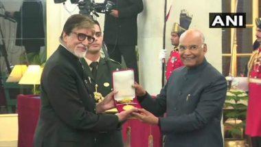 Amitabh Bachchan Honoured with  Dadasaheb Phalke Award by President Ram Nath Kovind at Rashtrapati Bhavan in Delhi