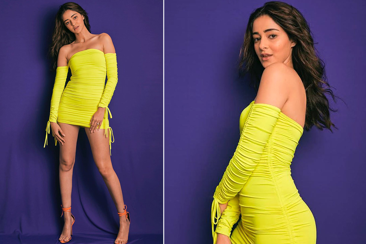 Ananya Panday in Oh Polly ruched neon green mini for Fastrack event (2)