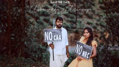 Kerala Couple's Pre-Wedding Shoot With 'No NRC' And 'No CAA' Placards Go Viral (See Picture)