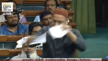 Asaduddin Owaisi Tears Up Citizenship Amendment Bill Copy in Lok Sabha, Calls CAB 'Unconstitutional' - Watch Video