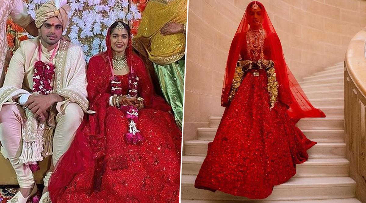 Babita Phogat's Shimmery Red Wedding Lehenga Has a Striking Similarity With That of Priyanka Chopra's Sabyasachi Mukherjee Outfit! (View Pics)