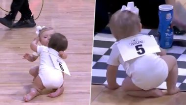 Baby Contestants in Crawling Race Hug And Kiss Each Other Before Crossing The Final Line; Watch Cute Video