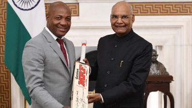 Brian Lara Meets President Ramnath Kovind at Rashtrapati Bhavan; India's Head of State Calls Former Caribbean Batsman a Role Model