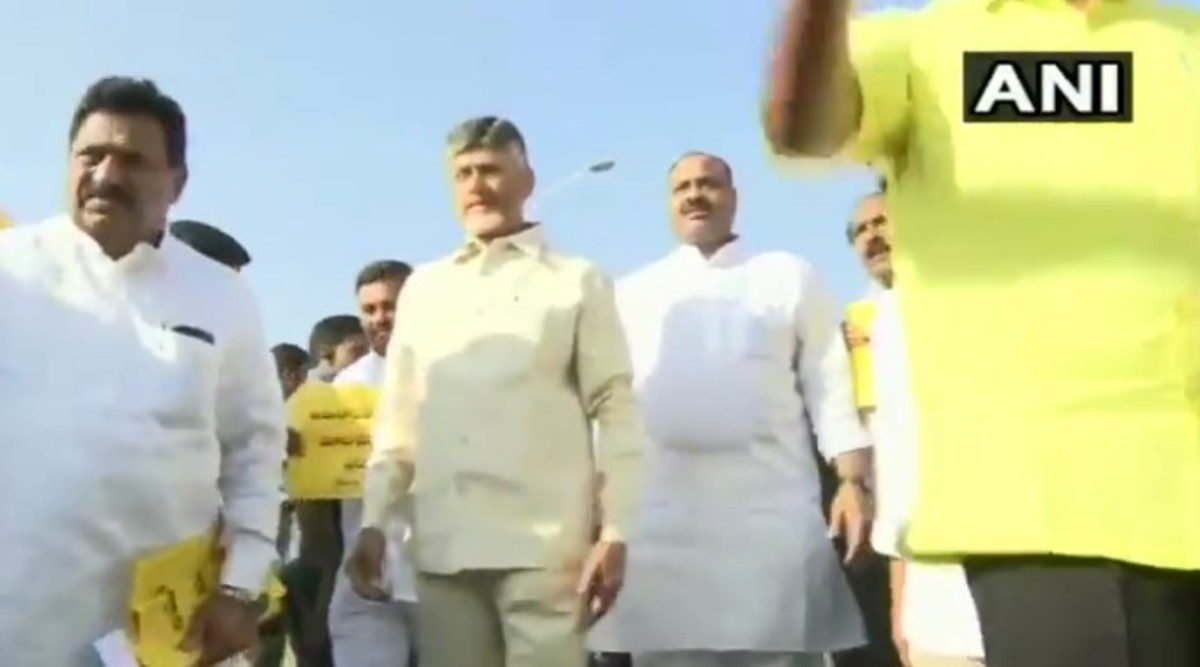 Andhra Pradesh: TDP Chief Chandrababu Naidu and Party Workers Stage Protest by Walking Backward, Allege YSRCP Government of 'Pushing State in Backward Direction'