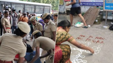 Anti-CAA Row: Chennai Police Detain 8 People For Participating in 'Kolam Protest' by Drawing 'Rangoli' on Streets, Release Them Later