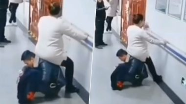 Chinese Husband Becomes a 'Chair' to Let His Pregnant Wife Sit on Him at Hospital (Watch Viral Video)
