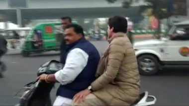 Congress Worker, Who Gave Lift to Priyanka Gandhi Vadra on Two-Wheeler, Challaned Rs 6100 for Not Wearing Helmet