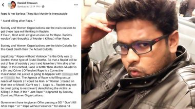 'Carry Condoms And Cooperate With Rapist': Daniel Shravan's Facebook Post on 'Violence Free Rape' Evokes Anger