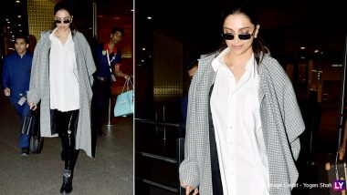 Deepika Padukone Takes Casual Airport Styling a Notch Higher With a Pair of Latex Jeans and Gingham Coat (View Pics)