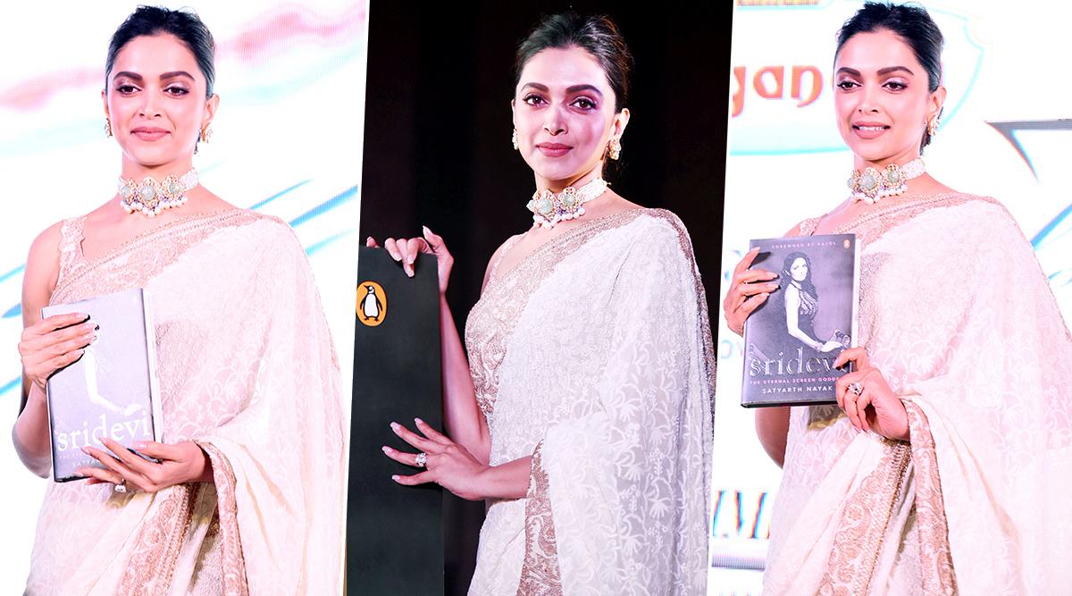 Deepika Padukone in Anamika Khanna for Sridevi The Eternal Screen Goddess book launch