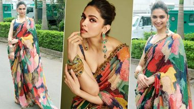 Deepika Padukone's Colourful Saree by Sabyasachi Mukherjee Is a Dream Number! (View Pics)