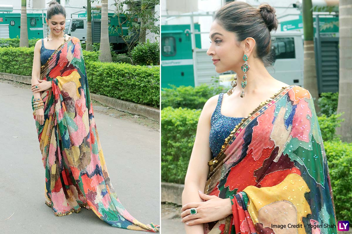 Deepika Padukone's Colourful Saree by Sabyasachi Mukherjee ...