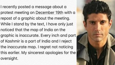 Farhan Akhtar Apologizes For Sharing an 'Inaccurate' Map of India While Protesting Against CAA and NRC-View Tweet