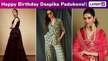 Deepika Padukone Birthday: From Gowns, Pantsuits to Six-Yards, Here's How The Leggy Lass Has Always Kept Us Hooked With Her Fashion Game!