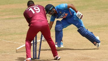 WI 229/2 in 38.4 Overs (Target 287) | India vs West Indies Live Score of 1st ODI 2019 Cricket Match: Shimron Hetmyer Departs After a Fine Knock
