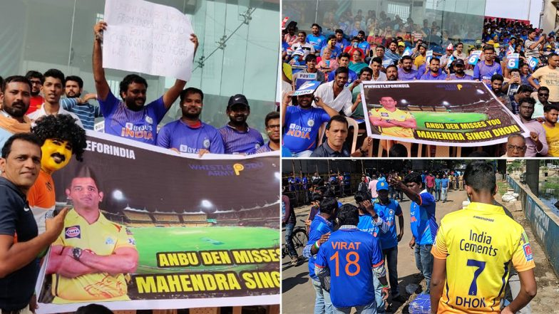 IND vs WI 1st ODI 2019: CSK's Chepauk Stadium Turns Blue As Indian Cricket Fans Arrive to Cheer For Virat Kohli and Co (Check Photos and Videos)