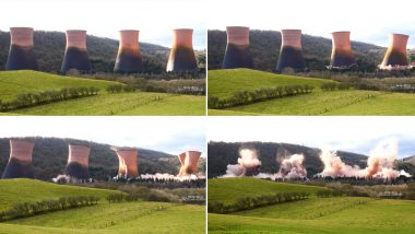 Dramatic Footage of Ironbridge Power Station Cooling Towers in England Being Demolished Goes Viral (Watch Video)
