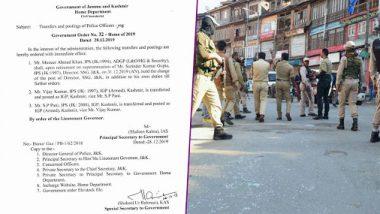 Jammu And Kashmir: IPS Vijay Kumar as Appointed New IGP of Kashmir, Replaces SP Pani