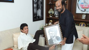 Kerala-Based Artist Pranav Meets Superstar Rajinikanth, Surprises the Darbar Actor with a Special Sketch (View Pics)
