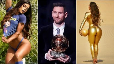 Lionel Messi Fan and Miss BumBum Suzy Cortez Celebrates His Ballon d'Or 2019 Win by Stripping Down to Undies and Covering in Gold Paint! (View Pics)