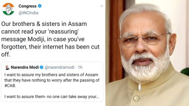 'Assam Cannot Read Your Message Modi Ji, Their Internet Cut Off': Congress Jabs PM for Addressing CAB Concerns Via Social Media
