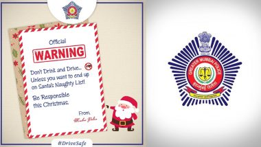 Mumbai Police Gives a Witty Warning Against 'Drink and Drive' During Christmas Celebrations (Check Tweet)