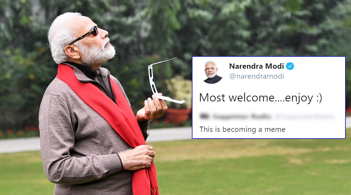 PM Narendra Modi Reacts to Memes on His Solar Eclipse 2019 Photos, Says 'Most Welcome...Enjoy'