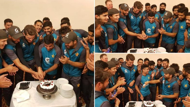 Pakistan Team Celebrates Shan Masood, Abid Ali's Centuries and Shaheen Afridi's Fifer in PAK vs SL 2nd Test 2019, See Photos of Cake Cutting Ceremony