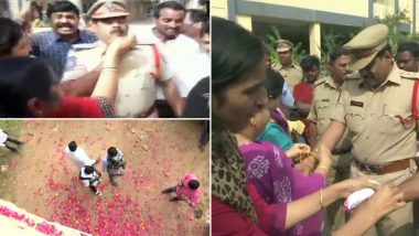 Hyderabad Encounter: Celebrations Erupt After Killing of All Accused in Vet Rape And Murder Case, Rose Petals Showered on Telangana Cops