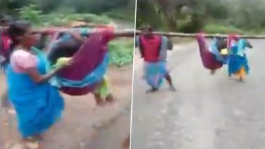 Medical Apathy in Tamil Nadu: Pregnant Woman in Erode Carried in Cloth Cradle As Ambulance Fails to Reach Due to Bad Roads; Watch Video