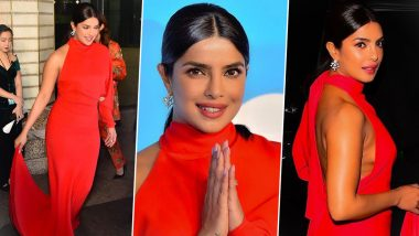 Priyanka Chopra Looks Like Blazing Fire in Red at UNICEF Snowflake Ball 2019 as She Receives Humanitarian Award (View Pics)