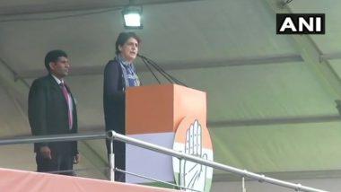 'Bharat Bachao' Rally: Priyanka Gandhi Takes Jibe at 'Modi Hai to Mumkin Hai' Slogan, Says 'Job Loss, Unemployment Mumkin Under BJP Govt'