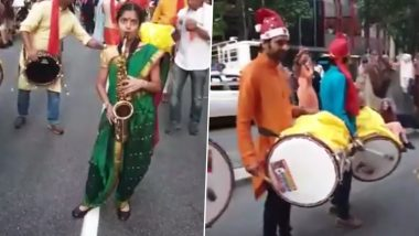 Puneri Twist of Jingle Bells Sees Nauvari Saree-Clad Girl Playing Popular Christmas Rhyme on Saxophone and Dhol Tasha, Watch Viral Video