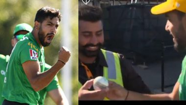 Haris Rauf, Pakistan Bowler, Gifts Ball to Indian Security Guard After Claiming a Five-Wicket Haul in Melbourne Stars vs Hobart Hurricanes BBL 2019-20 Match