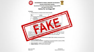 RRB NTPC Exam 2019 on March 28? Fake Indian Railways' Notification on Examination Date Goes Viral, Time Table Still Awaited Online at rrbcdg.gov.in