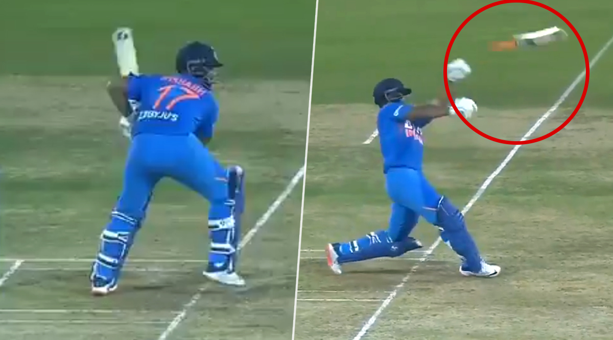 Rishabh Pant Loses Grip of His Bat Off Sheldon Cottrell Delivery During IND vs WI 2nd T20I 2019 Match (Watch Funny Video)