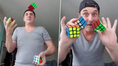 Man Solves 3 Rubik's Cubes by Just Juggling Them But Twitterati Highly Doubts, Calling it a Fake Trick (Watch Viral Video)