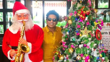 Sachin Tendulkar Wishes Merry Christmas 2019 To His Fans and Well-Wishers, Poses With Santa Claus and Xmas Tree In This Cute Photo on Twitter!