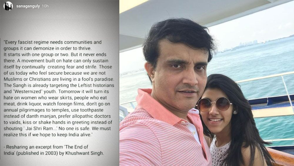 Sana Ganguly, Daughter of BCCI Chief Sourav Ganguly, Shares Excerpt From Khushwant Singh's 'The End of India' on Instagram Story Amid Anti-CAA Protests, Gets Praise From Netizens