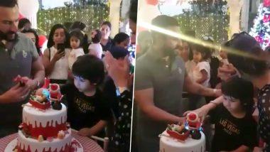 Taimur Ali Khan Looks Like a Ball of Cuteness As He Cuts His Birthday Cake With Saif and Kareena! (Watch Video)