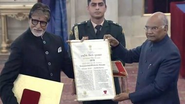 Amitabh Bachchan Receives The Dadasaheb Phalke Award From President Ramnath Kovind For Contribution To Indian Film Industry (Watch Video)