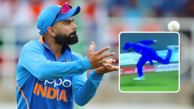 Virat Kohli Catch Video: Indian Captain Takes a Stunner to Dismiss Shimron Hetmyer During IND vs WI 1st T20I 2019