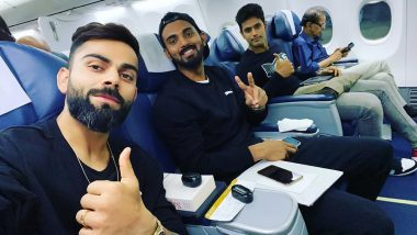 Virat Kohli Shares In-Flight Selfie Ahead of India vs West Indies 1st T20I in Hyderabad, KL Rahul and Shivam Dube Also in the Frame; See Instagram Post