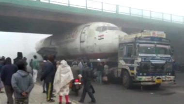 West Bengal: Truck Carrying Abandoned India Post Aircraft Gets Stuck Under Bridge in Durgapur