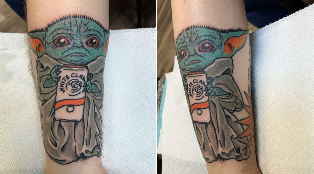 Baby Yoda Drinking White Claw Tattoo Infuriates Netizens Who Slam the Person for Ruining Their Precious Star Wars' Character (View Pics)
